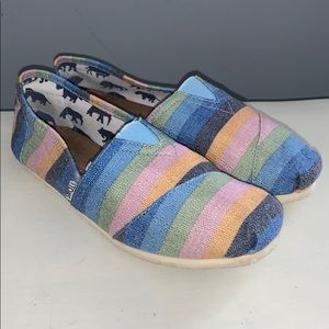 Women's Striped Toms size 10